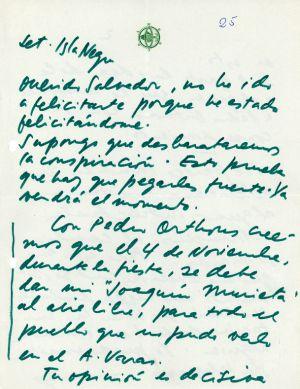 Felicitación de Neruda a Allende.